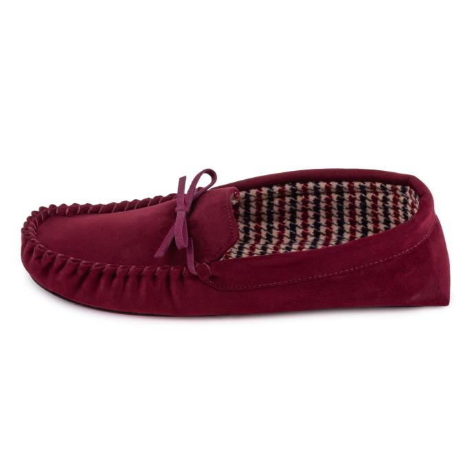 totes Mens Suedette Check Line Moccasin Burgundy