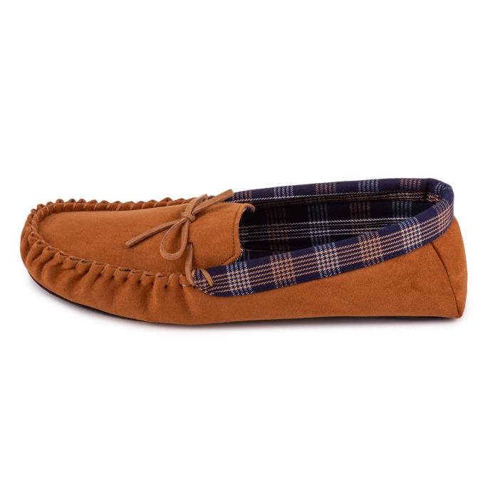 totes Mens Suedette Check Line Moccasin Tan