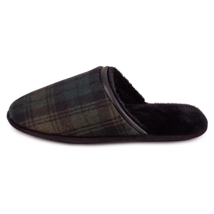 totes Mens Wool Blend Check Mule Slipper Green