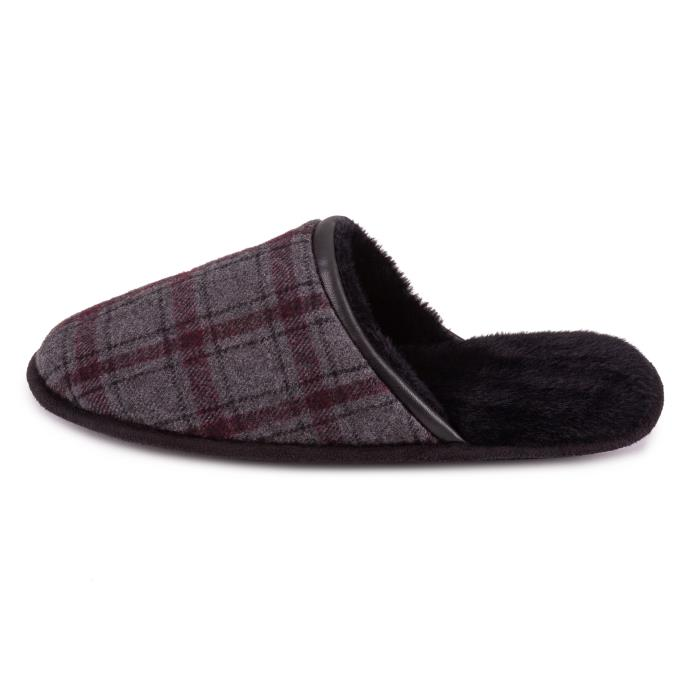 totes Mens Wool Blend Check Mule Slipper Grey