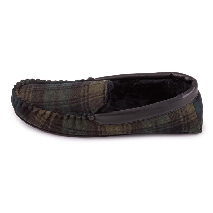 totes Mens Wool Blend Check Moccasin Slipper Green