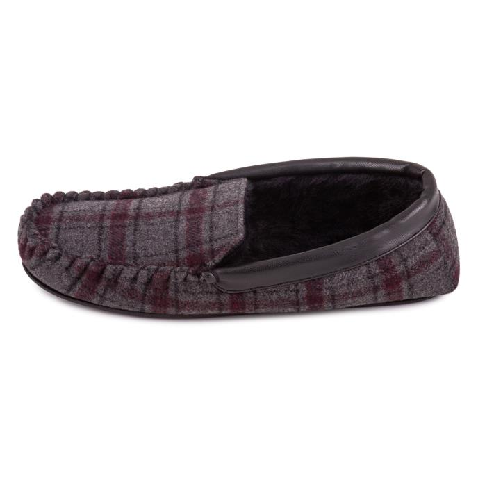 totes Mens Wool Blend Check Moccasin Slipper Grey