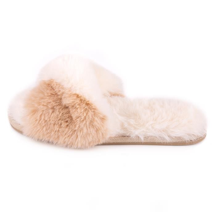 totes Ladies Faux Fur Slider Cream