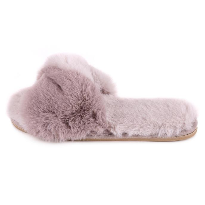 totes Ladies Faux Fur Slider Grey