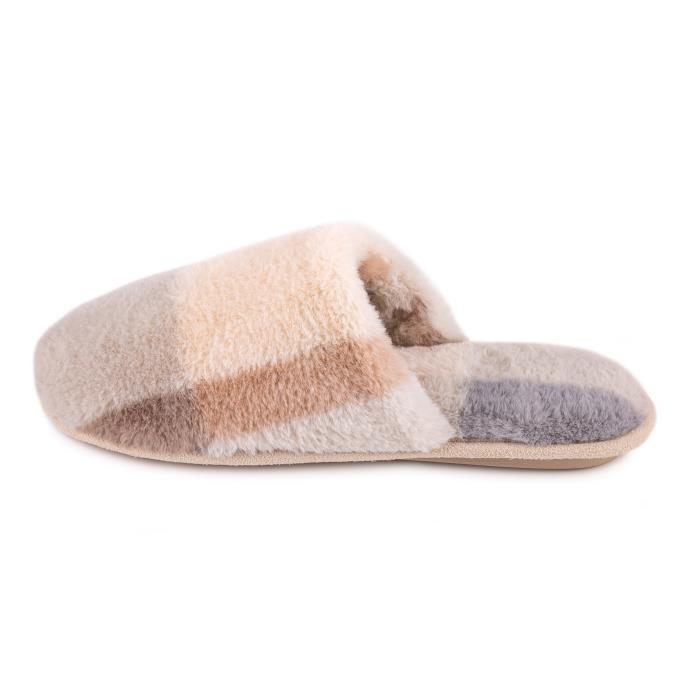 totes Ladies Check Fur Mule Slipper Grey
