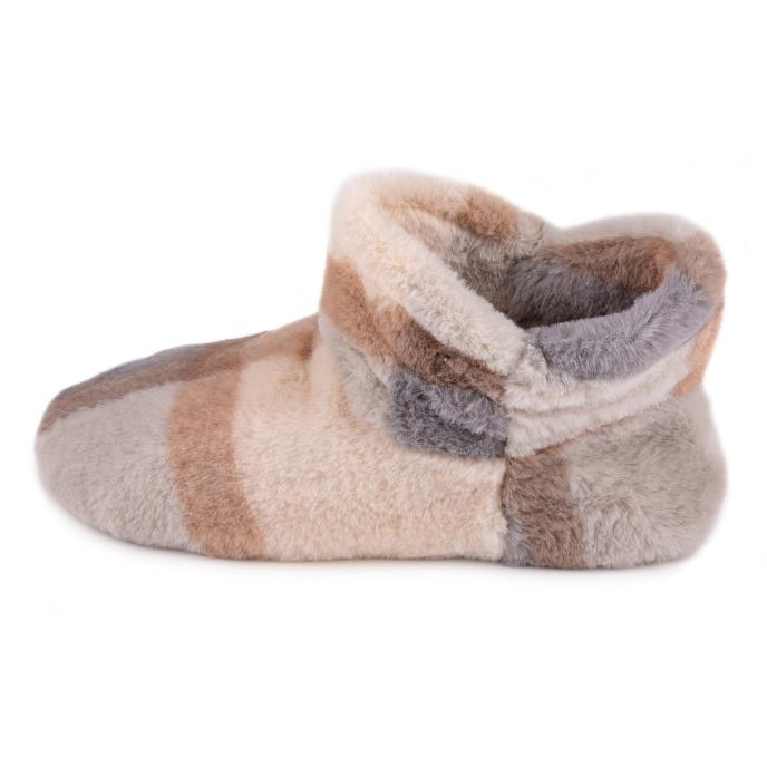 totes Ladies Check Fur Boot Slipper Grey
