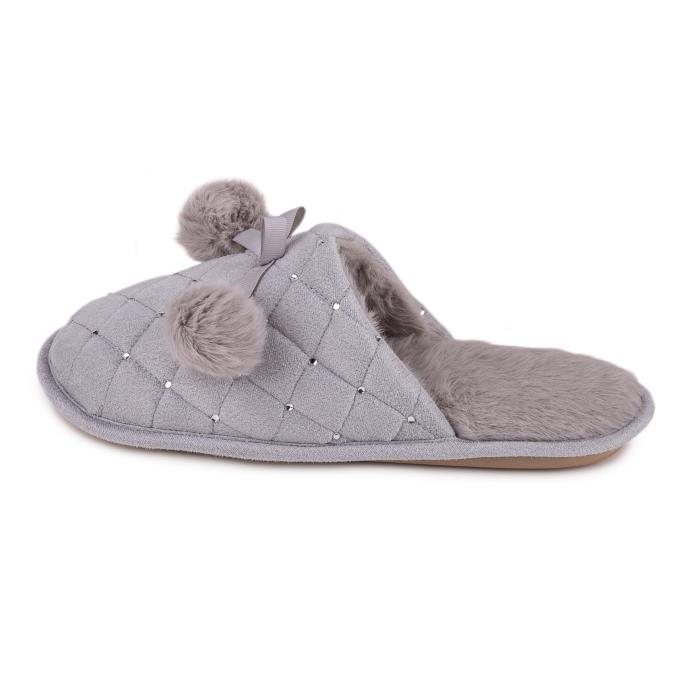 totes Ladies Rhinestone Quilted Mule Slipper Grey