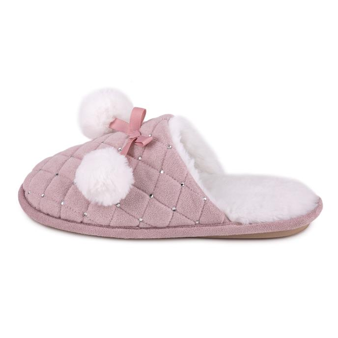 totes Ladies Rhinestone Quilted Mule Slipper Pink