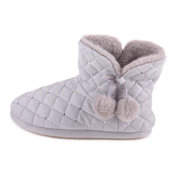 totes Ladies Rhinestone Quilted Boot Slipper Grey