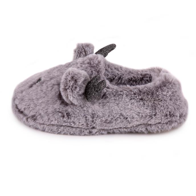 totes Ladies Novelty Reindeer Slipper Grey