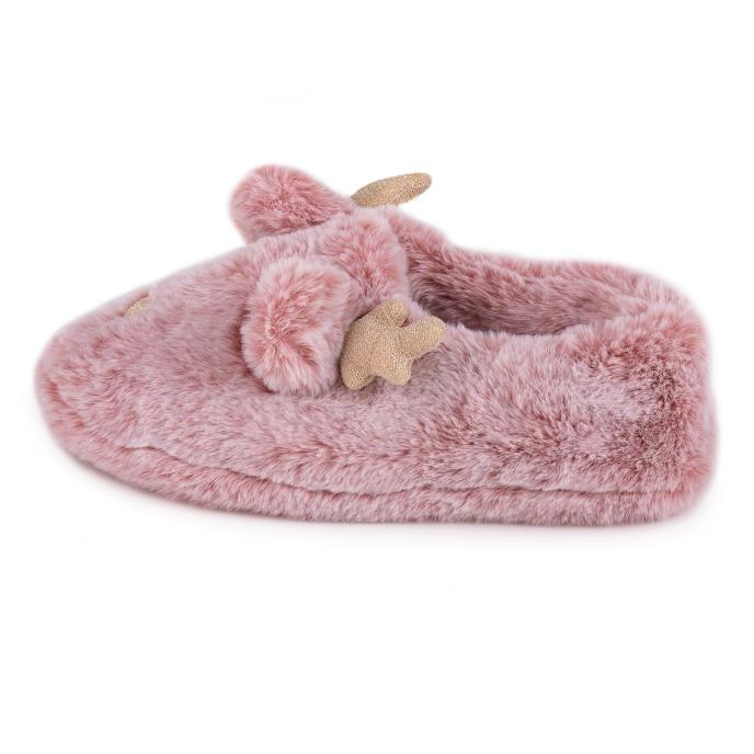 totes Ladies Novelty Reindeer Slipper Pink