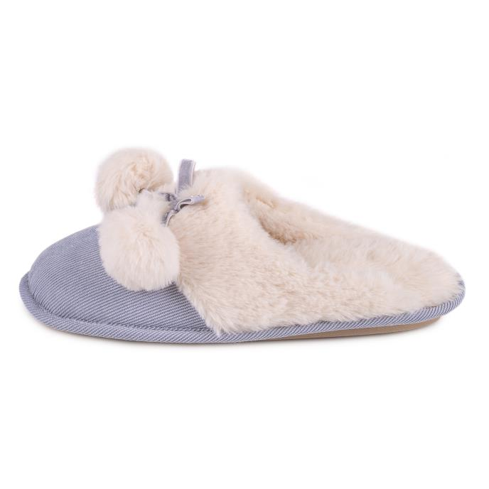 totes Ladies Cord Faux fur Lined Mule Slipper Blue