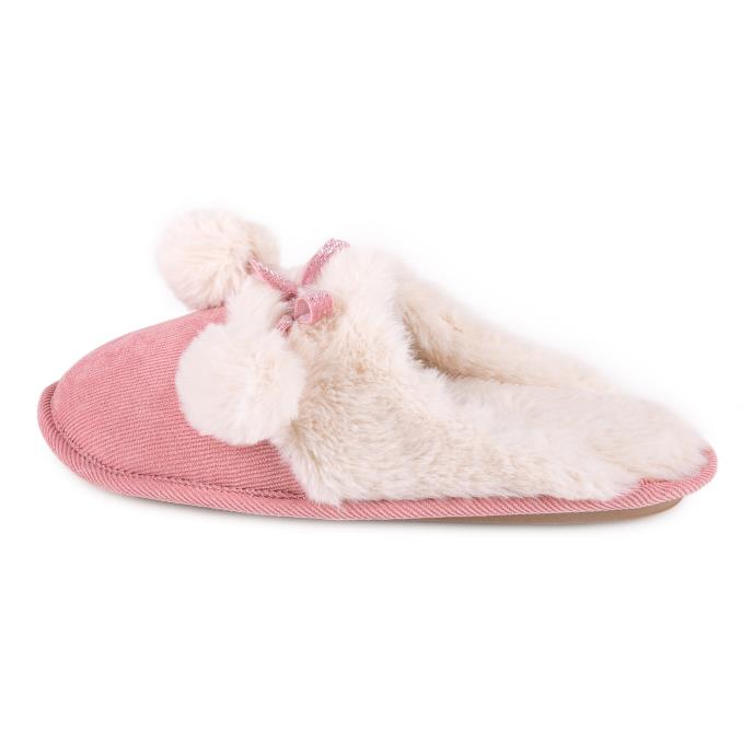 totes Ladies Cord Faux fur Lined Mule Slipper Pink
