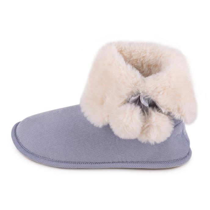 totes Ladies Suedette Fur Bootie Slipper Blue
