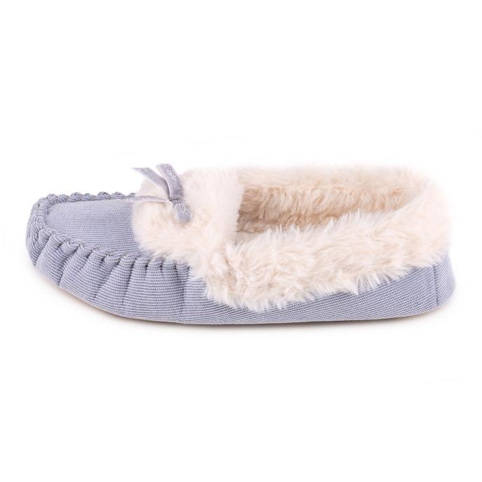 totes Ladies Cord Faux Fur Lined Moccasin Blue
