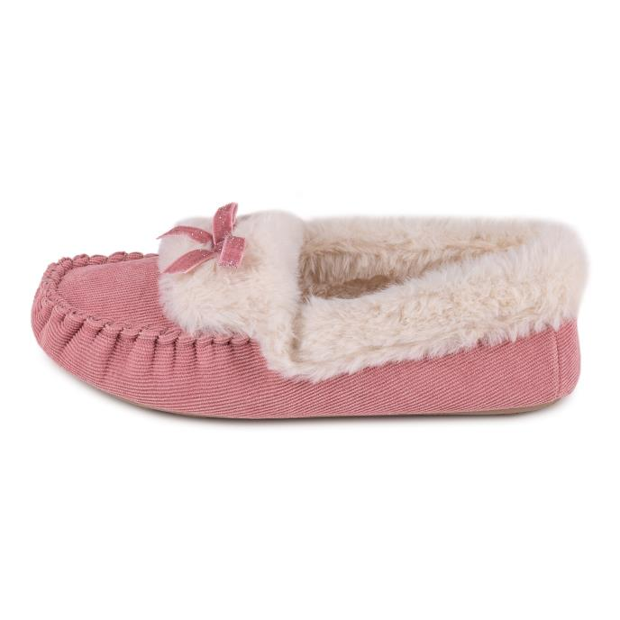 totes Ladies Cord Faux Fur Lined Moccasin Pink