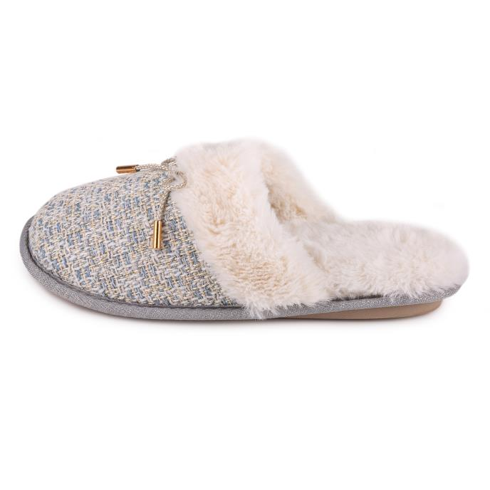 totes Ladies Tweed Mule Slipper Grey