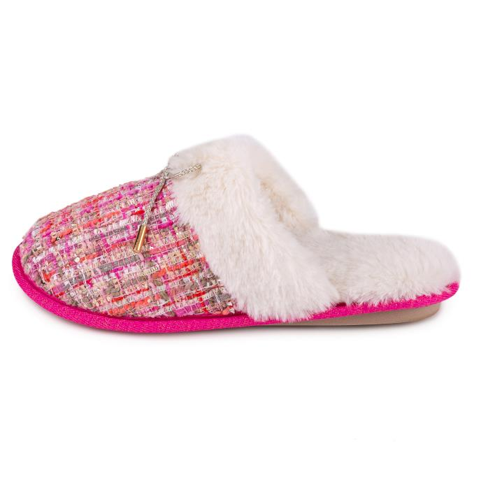 totes Ladies Tweed Mule Slipper Pink