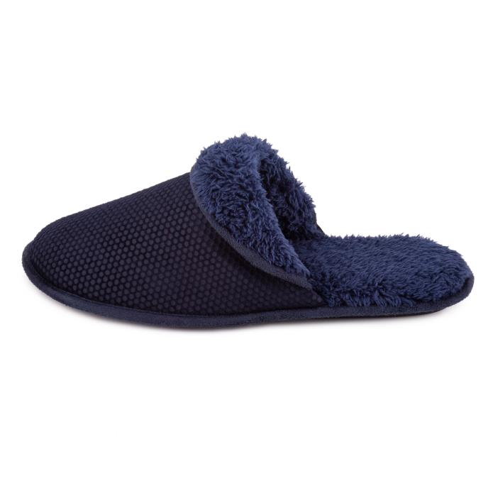 totes Mens Sherpa Cuff Velour Mule Slipper Navy