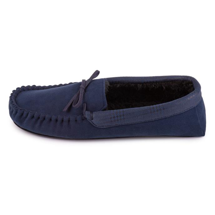 totes Mens Suedette Moccasin Slipper Navy