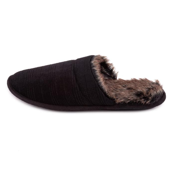 totes Mens Check Mule Slipper Black