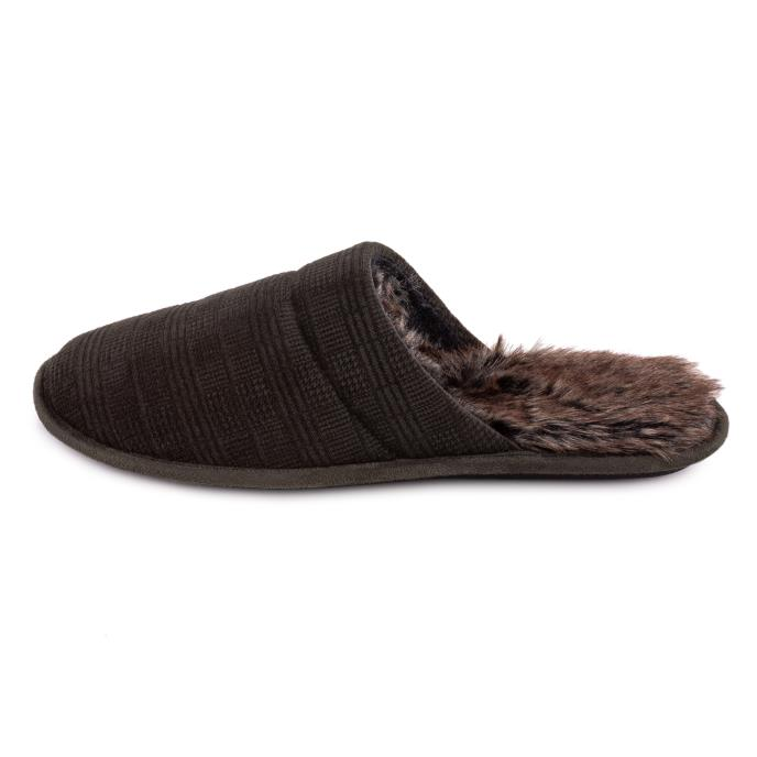 totes Mens Check Mule Slipper Khaki