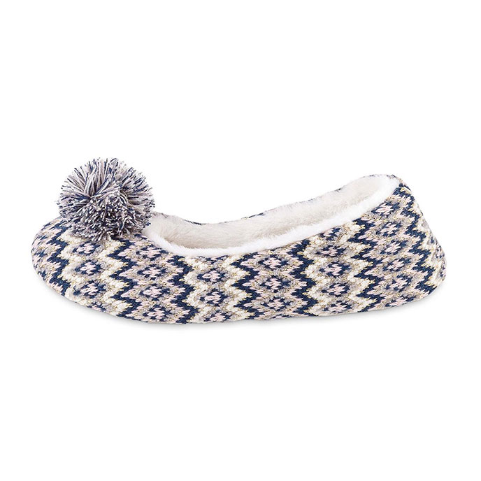 totes Ladies Fairisle Knitted Ballet Slipper Navy Multi