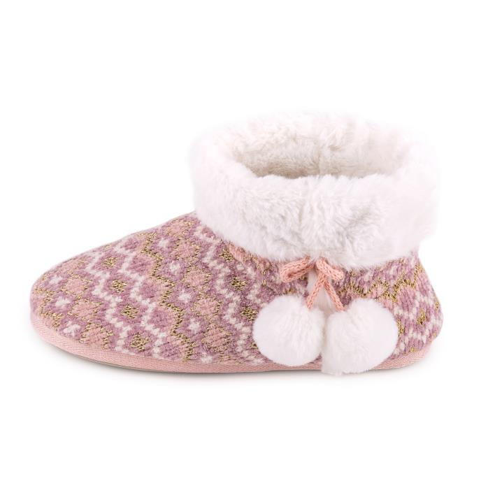 totes Ladies Fairisle Knitted Boot Slipper Pink Multi