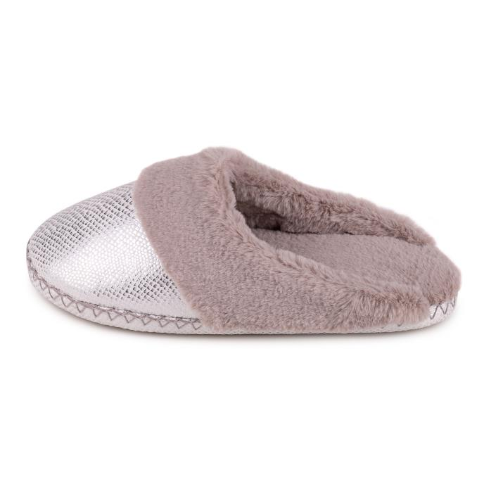 totes Ladies Sparkle Snake Mule Slipper Grey