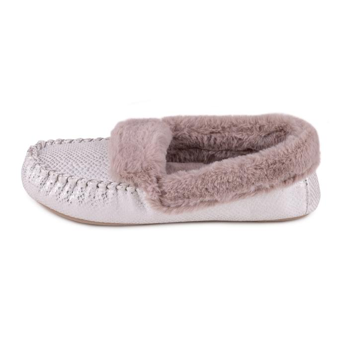 totes Ladies Sparkle Snake Moccasin Slipper Grey