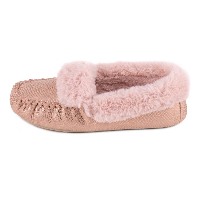 totes Ladies Sparkle Snake Moccasin Slipper Pink