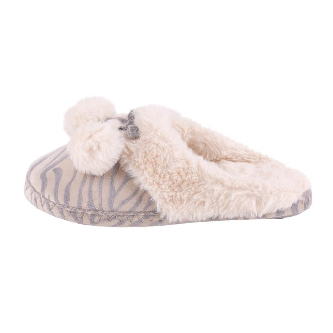 totes Ladies Zebra Mule Slipper Grey