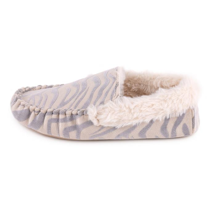totes Ladies Zebra Moccasin Slipper Grey