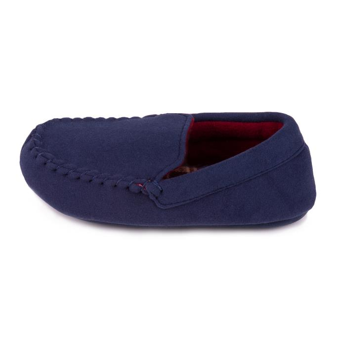totes Childrens Moleskin Moccasin Slipper with Contrast Check Lining Navy