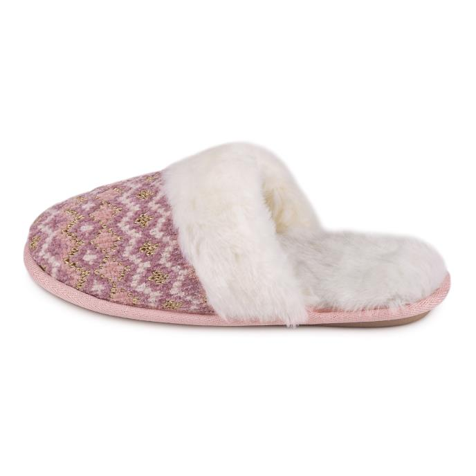 totes Ladies Fairisle Knitted Mule Slipper Pink Multi