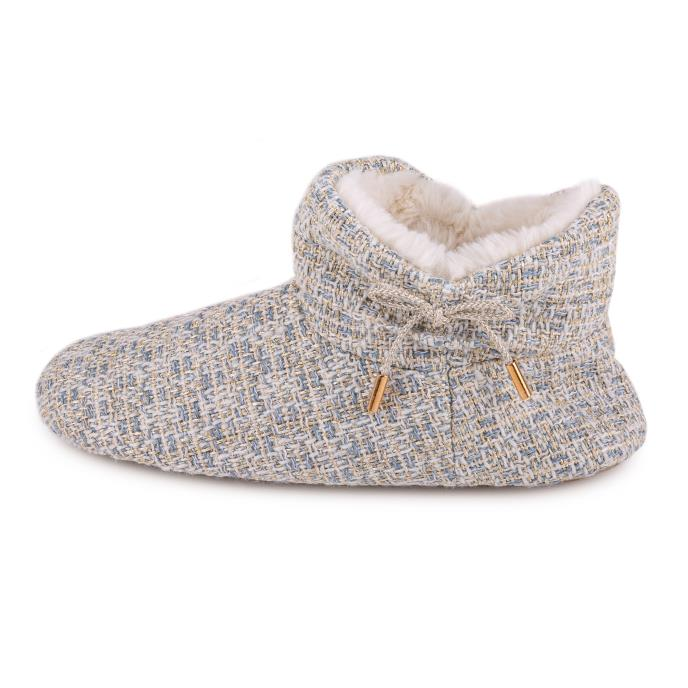 totes Ladies Tweed Boot Slipper Grey