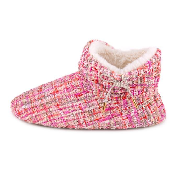 totes Ladies Tweed Boot Slipper Pink