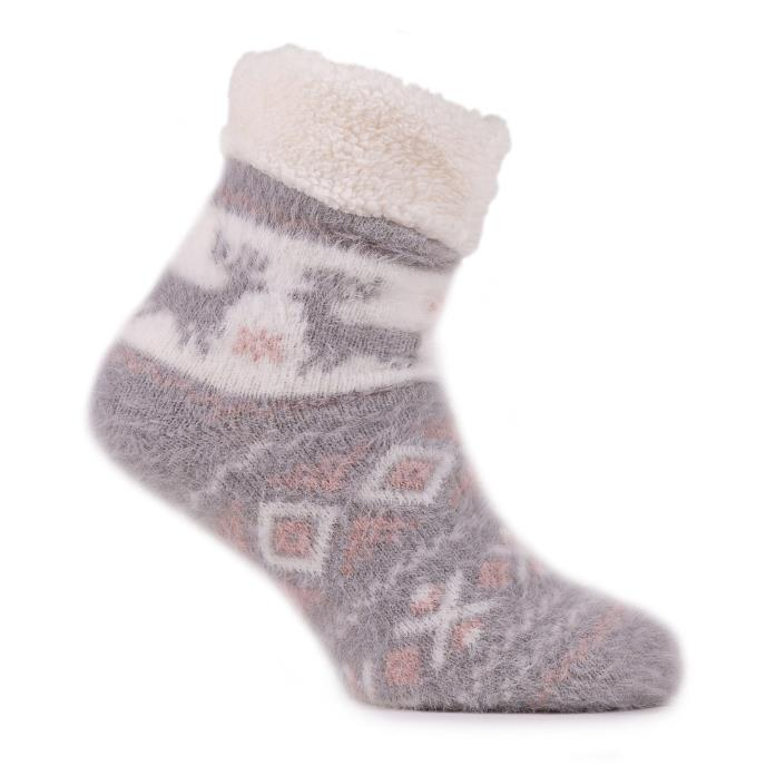 totes Ladies Brushed Fairisle Bed Socks Grey