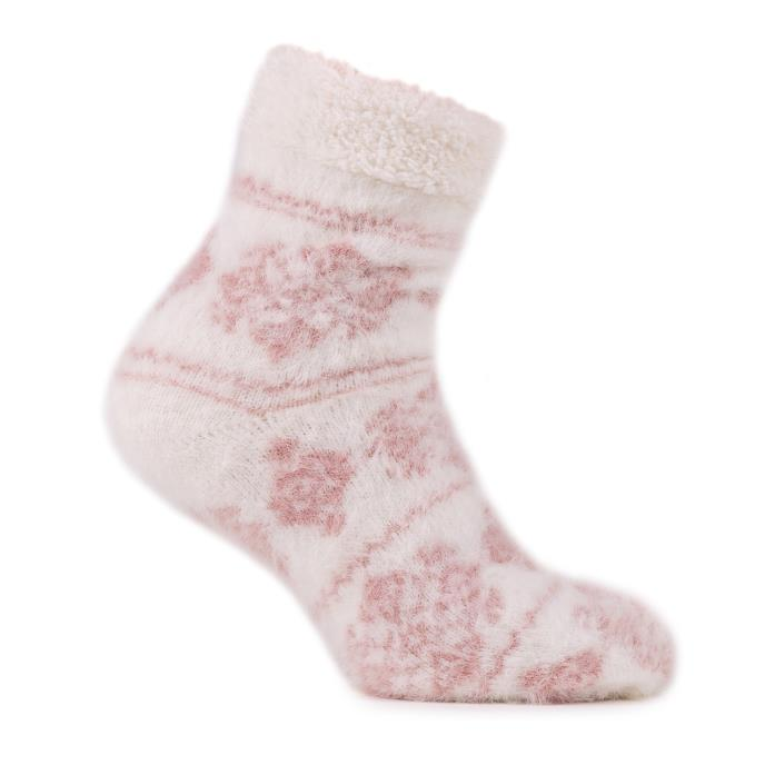 totes Ladies Brushed Fairisle Bed Socks Pink