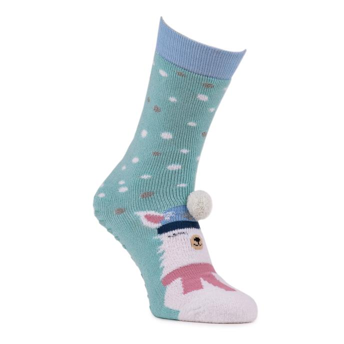 totes toasties Ladies Single Original Slipper Socks Blue Llama