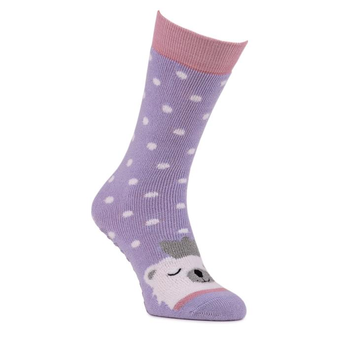 totes toasties Ladies Single Original Slipper Socks Lilac Polar Bear
