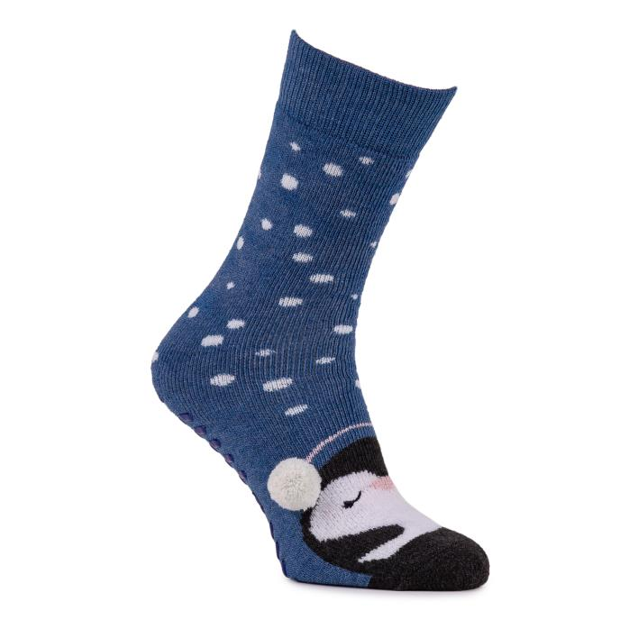 totes toasties Ladies Single Original Slipper Socks Blue Penguin