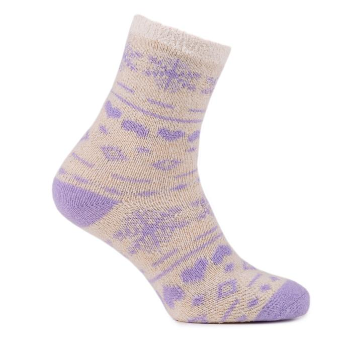 totes Ladies Chenille & Fairisle Bed Socks (Twin Pack)  Lilac
