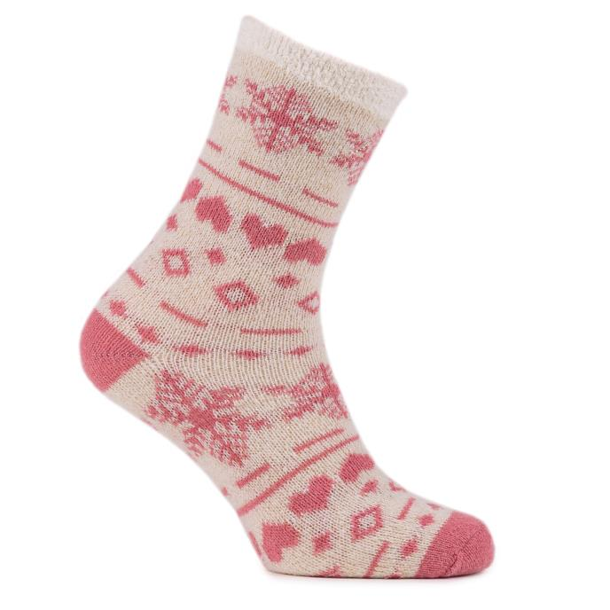 totes Ladies Chenille & Fairisle Bed Socks (Twin Pack)  Pink