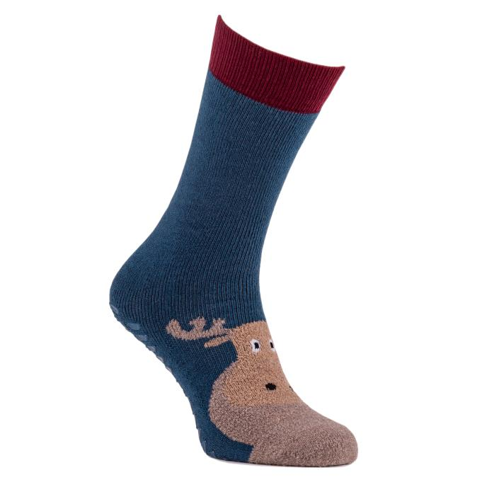 totes toasties Mens Original Slipper Socks (Twin Pack) Moose
