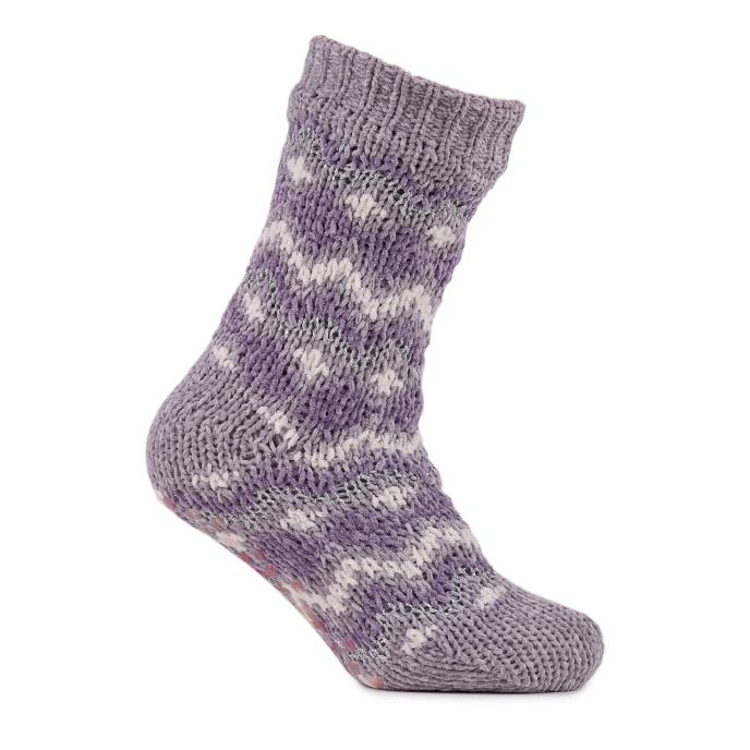 totes Ladies Fairisle Chenille Slipper Socks Lilac