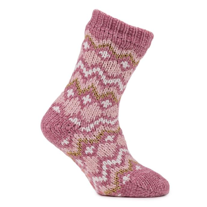 totes Ladies Fairisle Chenille Slipper Socks Pink