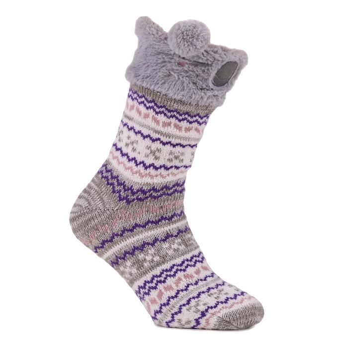 totes Ladies Chunky Knit Novelty Slipper Socks Koala