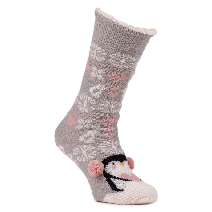 totes Ladies Chunky Knit Novelty Slipper Socks Penguin