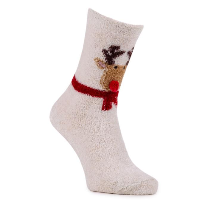 totes Ladies Novelty Cosy Slipper Socks Reindeer